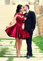 С длинными рукавами бордового цвета плюс размер 8 класс выпускные платья короткие для выпускного вечера vestido de festa Curto винно красное платье д