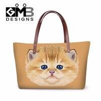 Cute cat bolsas mujeres grandes bolsos del totalizador del hombro para adolescentes niñas Bolsas De Neopreno Playa Verano Top Bolsos de Diseño Animal de Viaje bolsa