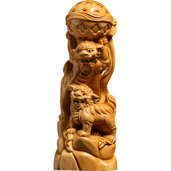 Double Lion Dance Ball Chinese Style Stone Lions Boutique Traditional Folk Craft Feng Shui Sculpture Yellow Solid Wood decor