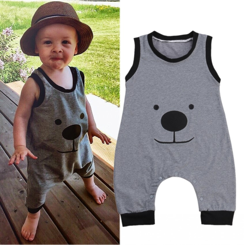 Toddler Baby Girls Boys Rompers Sleeveless Cartoon Bodysuit Jumpsuit With Hat