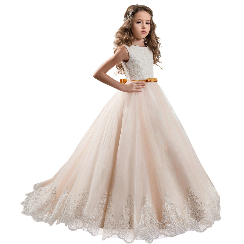 Girls Flower Evening Wedding Girl Dresses For Kids Dress First Communion Princess Dress Costume Children Clothing Vestidos
