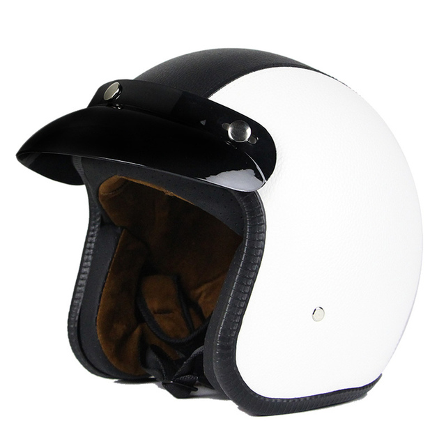 New Synthetic Leather Motorcycle Helmet Retro Vintage Cruiser Chopper Scooter Cafe Racer Moto Helmet 3/4 Open Face Helmet DOT