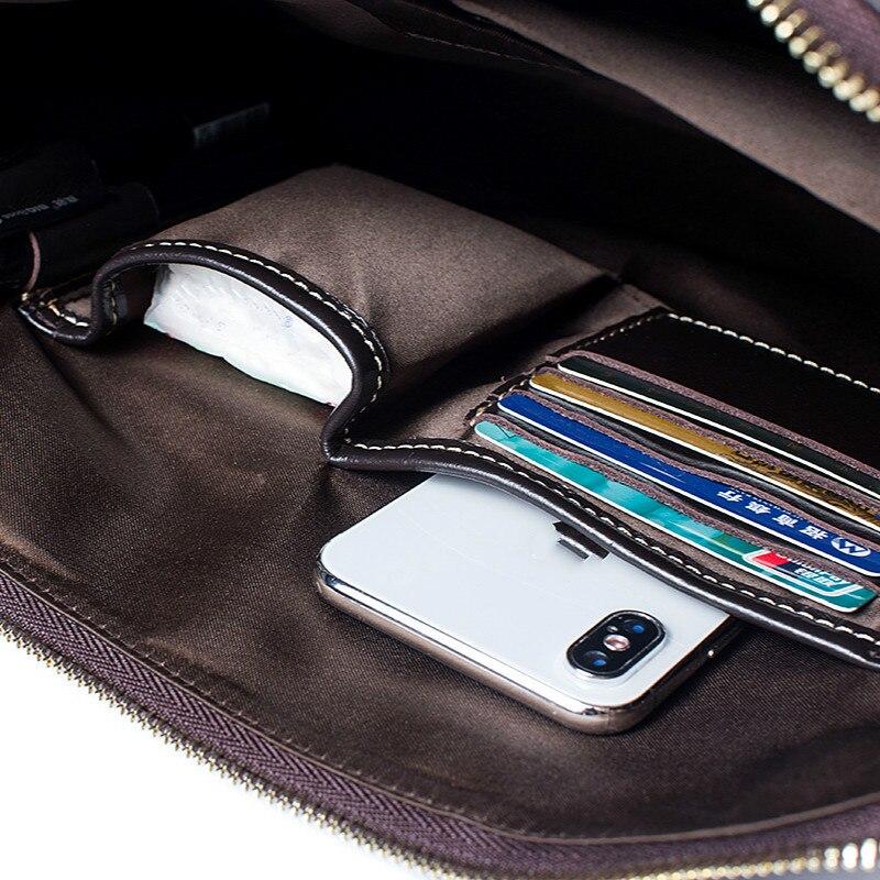 Bolso para ordenador portátil de cuero genuino de vaca Real de negocios bolsos de mano de cuero de vaca de hombre bolsos de hombro bandolera de viaje marrón - 4