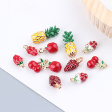 10pcs Alloy Fruit Enamel Pendants Charms 3D Pineapple Strawberry Cherry Pendants DIY Hair Bracelet Earring Jewelry Making FX082 недорого