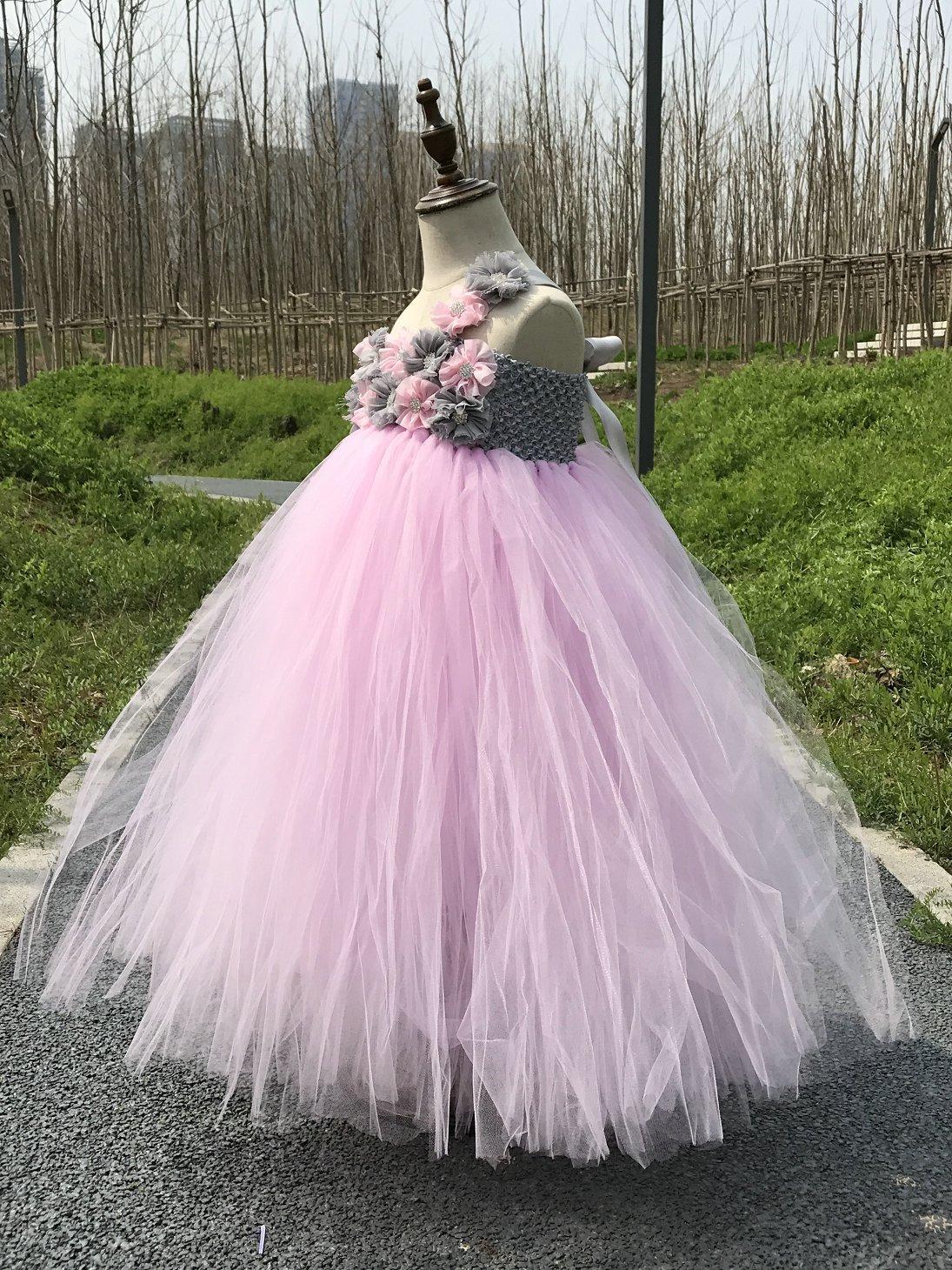 1dc06d785326 Vestidos Pink / Green Flower Girl Tutu Dress Wedding Tulle Dress Girls  Wedding Dresses Robe Demoiselle D'honneur Rose Fille Kids Dresses
