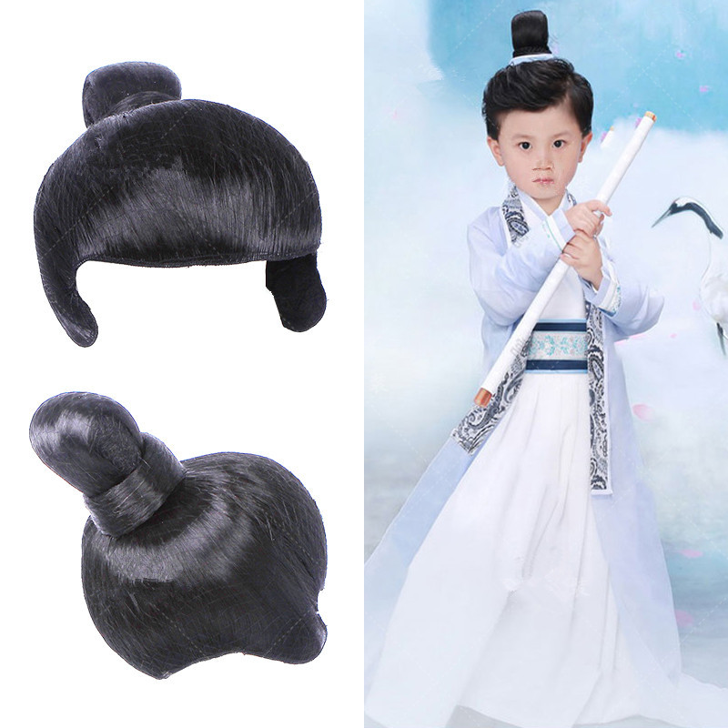 Boys Costume Accessories Creative Childrens Black Warrior Cosplay Hair Ninja Hair Swordsman Cosplay Hair Chinese Ancient Dynasty Hair Halloween Cosplay Structural Disabilities Kids Costumes & Accessories