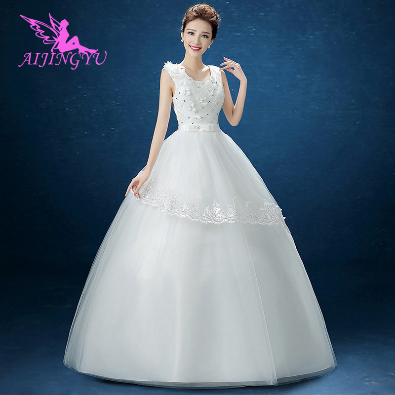 AIJINGYU 2018 Gowns Free Shipping New Hot Selling Cheap Ball Gown Lace Up Back Formal Bride Dresses Wedding Dress FU119