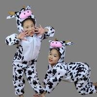Children Kids Toddler Cartoon Animal Milk Cow Costume Performance Jumpsuit Children's Day Halloween Costumes for Boy Girl