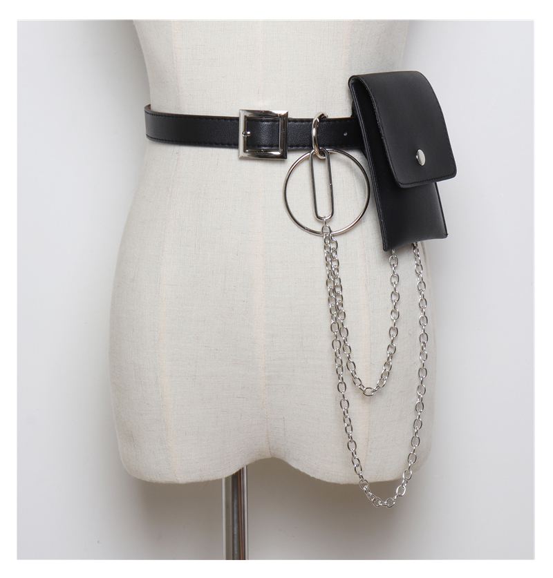 Модные маленькие поясные ремни в стиле панк-рок Харадзюку, сумка-кошелек, бандаж в стиле панк, пояс с металлической кисточкой, мини-цепочка, женский ремень в стиле панк 104