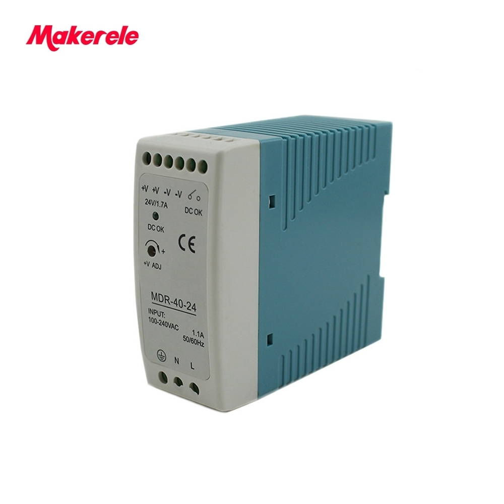 Free Shipping 40w Mini Size Din Rail ac dc switching model power supply 5V 12V 24V 48V mdr series LED driver from makerele free shipping din rail industry switching power supply mdr 60w 5v 12a for cnc cctv led light mdr60w 5v