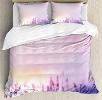 Duvet Cover Set , Blurred Lavenders in the Meadows Rural Country Nature Theme Artsy Design Print, 4 Piece Bedding Set