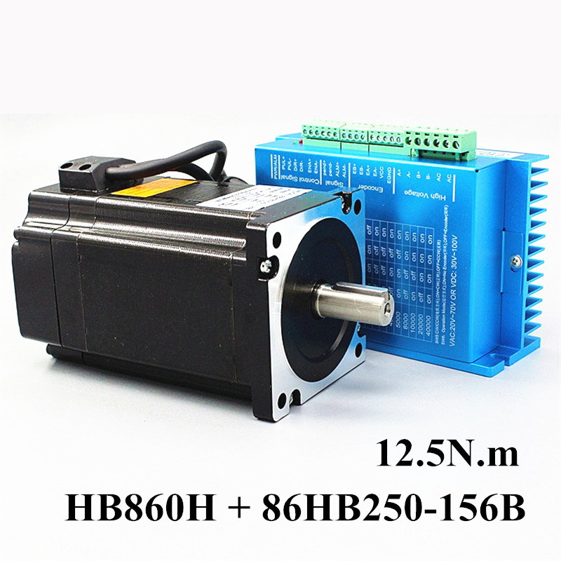 Nema 34 12.5N.m Closed Loop Stepper Motor Kit Hybird Servo Driver HB860H + 86HB250-156B 86 2 Phase Stepper Motor 2 phase 8 5n m closed loop stepper servo motor driver kit 86j18118ec 1000 2hss86h cnc machine motor driver