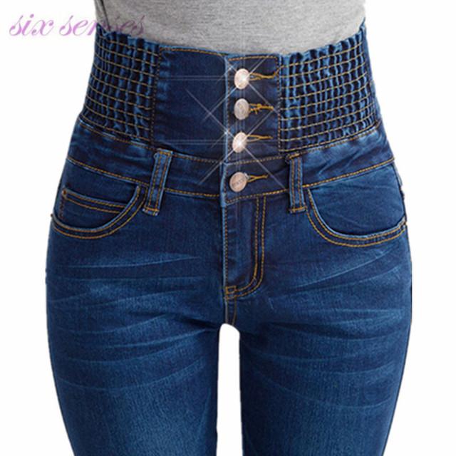 Calças de brim por atacado de moda mulheres elastic cintura alta estiramento magro calças jeans femininas primavera calças de brim pés calças plus size DL1777