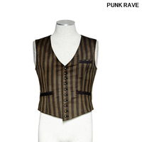 Gothic Retro Vantage Vampire popular Men's stripe slim vest steampunk fashion emo wedding cool Waistcoat Punk rave Y 718