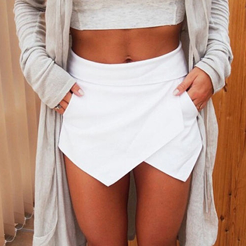 Women's Summer Sexy Casual Asymmetrical Front Candy Color Tulip Skort Shorts