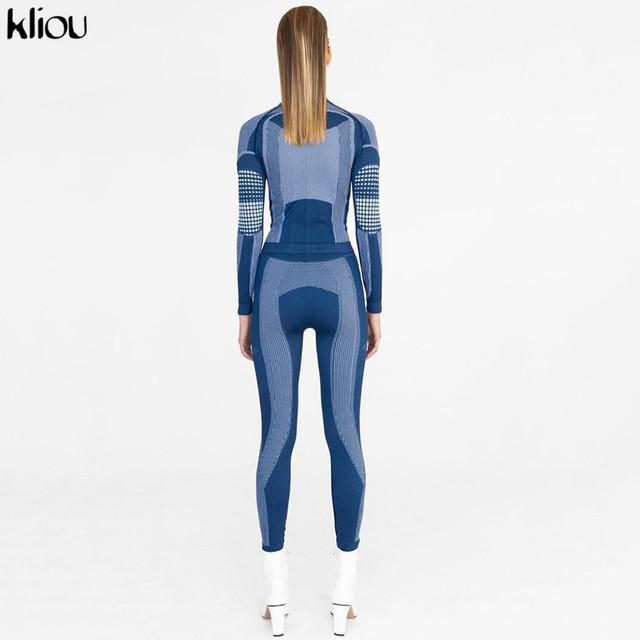 Kliou Women Fashion Fitness Sporting Tracksuit Turtleneck Full Sleeve Top Elastic High Waist Leggings 3D Print Striped Outfits