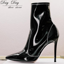 358d344bf24 Booties Woman 2018 Pointed Toe Hollow Thin High Heel Herringbone Line Black  Women s Ankle Shoes Sexy Zipper Fashion Ladies Boots