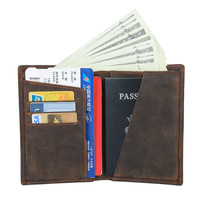 genuine leather passport cover case travel credit card holder