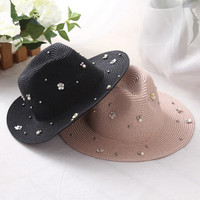 New Spring Summer Hats For Women Flower Beads Wide Brimmed Jazz Panama Hat Sun Visor Beach