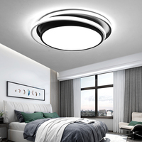 Round modern LED chandelier for living room bedroom study balcony indoor RC dimming ceiling chandelier lighting black and white