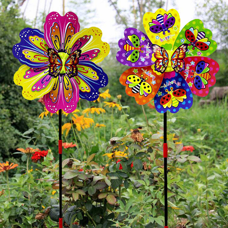 Butterfly Flower Windmill Colourful Wind Spinner Garden Yard Decoration Kids Toy