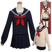 Japan Anime My Hero Academia Himiko Toga Cosplay Costume JK Uniform Women's Long Sleeve Shirt Top Skirt Sweater