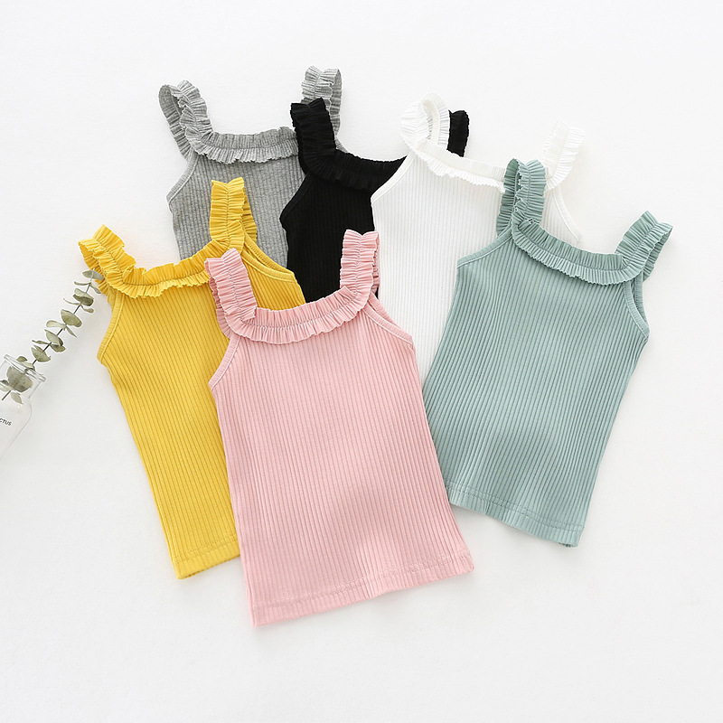 The New Girl Child LACE VEST Knitted Cotton Sleeveless T-shirt Dress Vest Sweater Knitted Vest Sweet