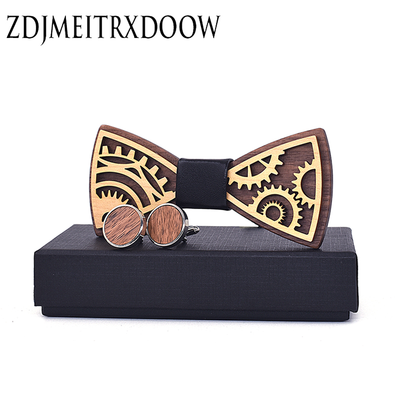 New Design Wooden Gear Bow Tie Men's Wood Bowtie Cufflinks Set Brand Business Neckties Cuff Links For Wedding Groom