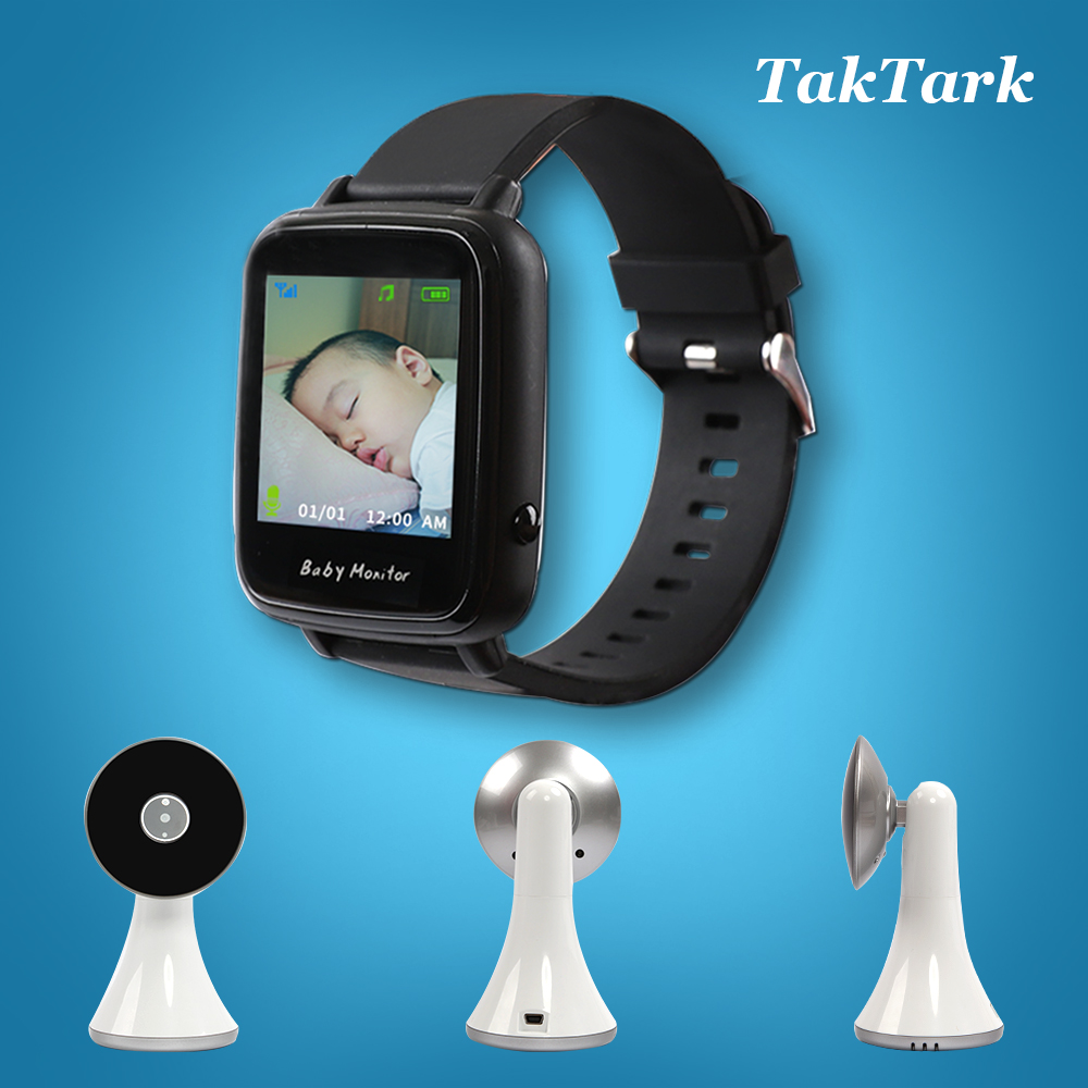 Wireless Video Watch Style Baby Monitor Portable shock vibration Baby Nanny Cry Alarm Camera Night Vision Temperature Monitoring-in Baby Monitors from Security & Protection