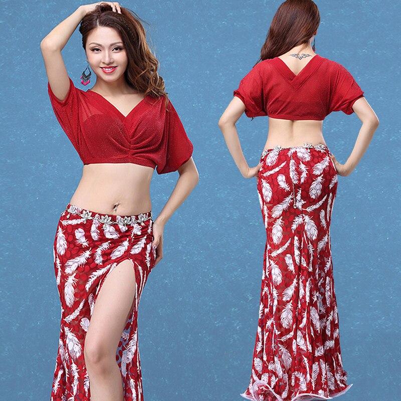 Danse du ventre Costume 2 pièces hauts & Jupe Costume de Danse Du Ventre Court/Long Skirtbellydance Costume Professionnel Bollywood Sari DWY214