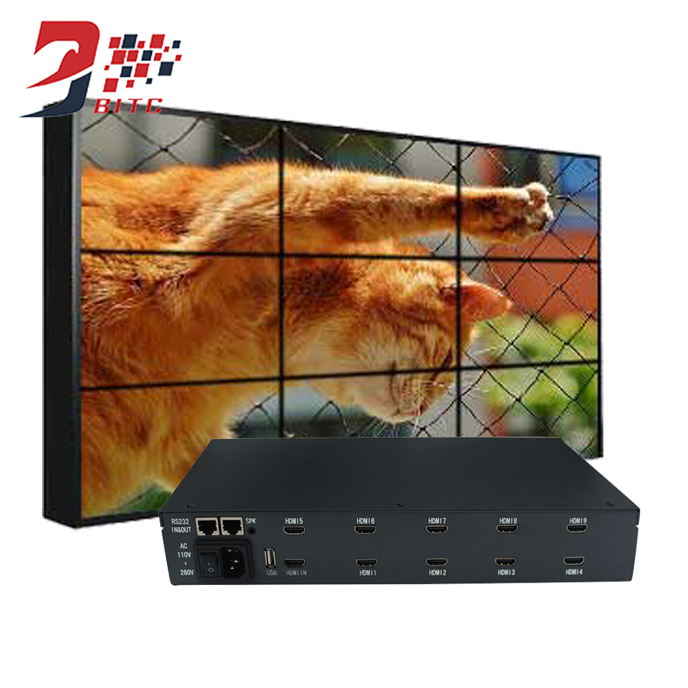 SZBITC Nouveau Produit Mur Vidéo Processeur 2x2 3x3 1080 p Résolution Pour LCD TV Vidéo Mur HDMI Sortie DVI USB