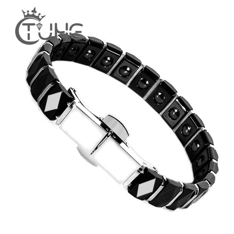 Ceramic Health Energy Magnetic Bracelet Bangle With Spring Clasp Silver Healthy Material Jewelry Gift