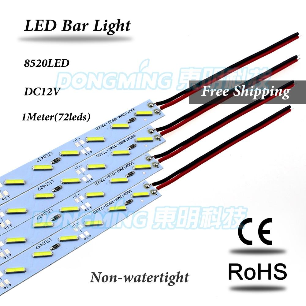 50 unids/lote 72 tira de luces LED 1m IP22 12V perfil de aluminio Barra de luz led 8520 SMD para armario de cocina Tira de LED SMD 2835 60led ip22 12v murió