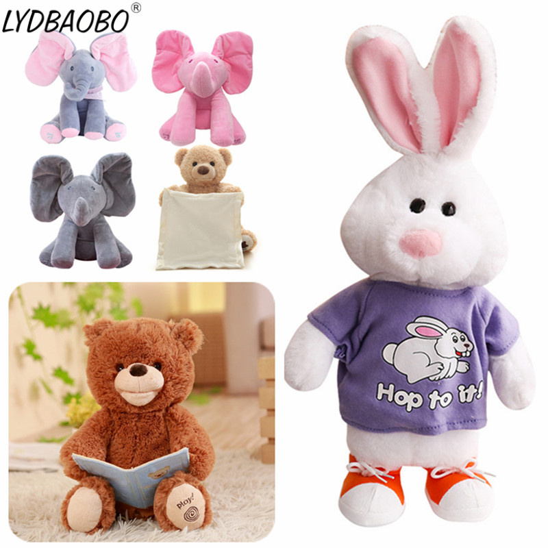 1pc Peek A Boo Rabbit & Bear Stuffed Animals&Plush Doll Play Music Read Bears Educational Anti-stress Toy Gift For Children Gift plush peek a boo dog toy peek a boo singing baby music toys ears flaping move interactive electronic pet doll children kids gift