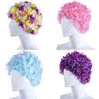 2017 Hot Handmade Pearl Colorful Flower Swimming Caps Free Size Flower Bathing Cap Protect Ears Hair Women Swim Pool Cap Hat 303