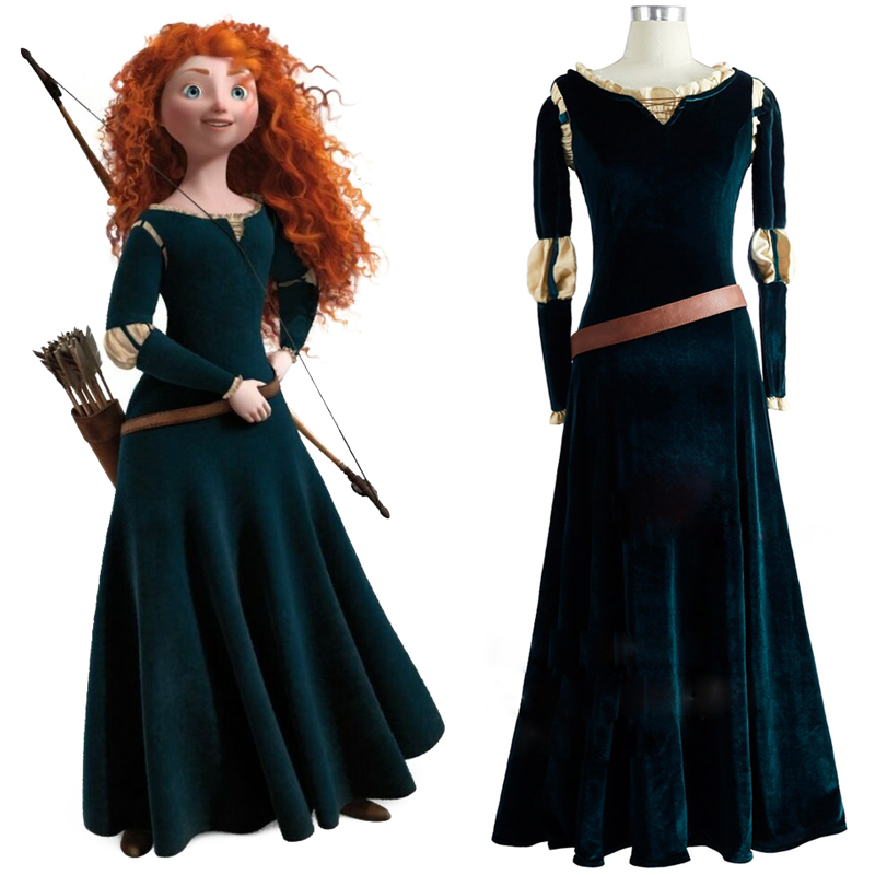 New Princess Merida Cosplay Brave Movie Costume Film Brave Merida Adult Ladies Costume Princess Dress Female Garment Cosplay