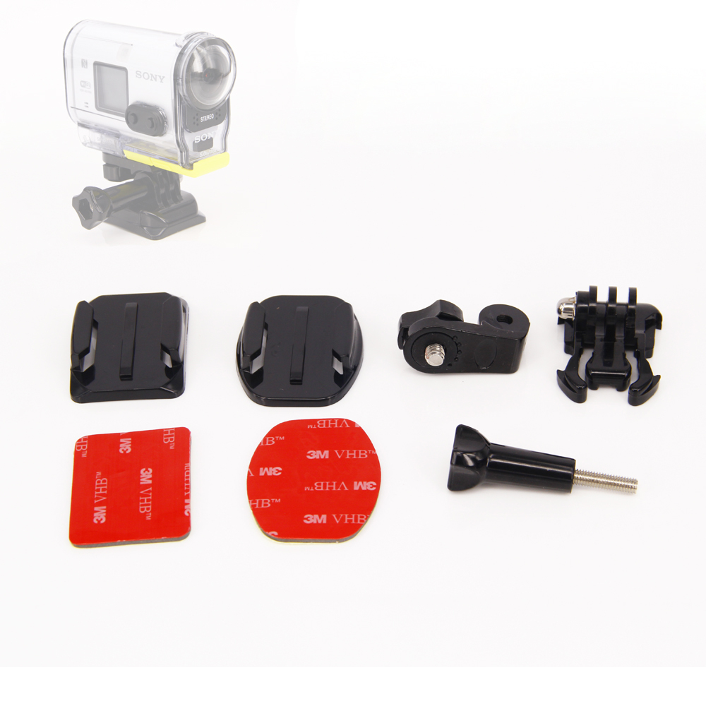 Adhesivo para montaje en Sony Mini cámara de acción HDR-AS20V AS30V AS100V 4 k X 1000 V/plana curva casco de montaje para cámara Sony Accesorios