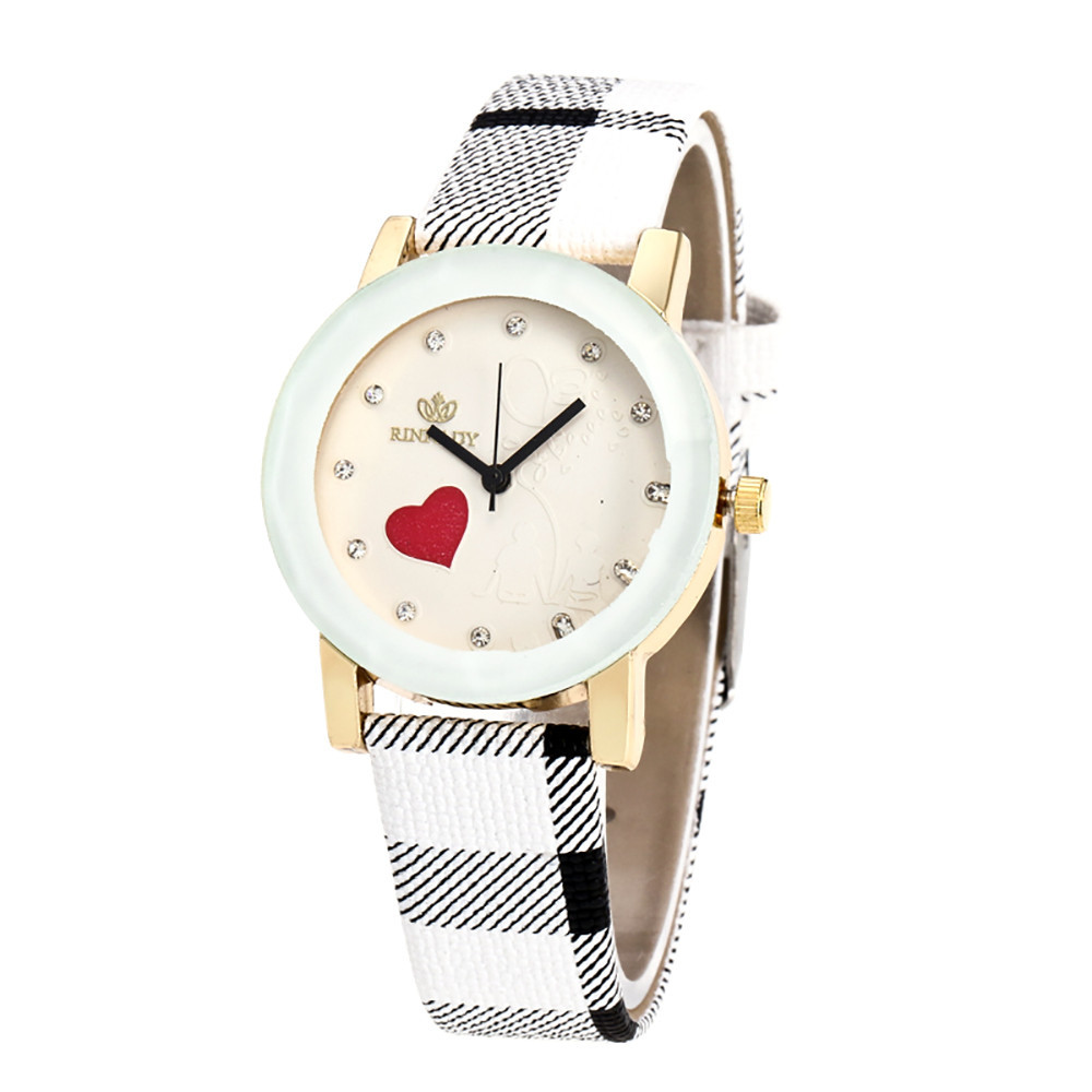 b893a4b4cfc49 Female Simple Fashion Casual Wrist Watches Women Love Heart Dial Leather  Band Analog Alloy Quartz WristWatches