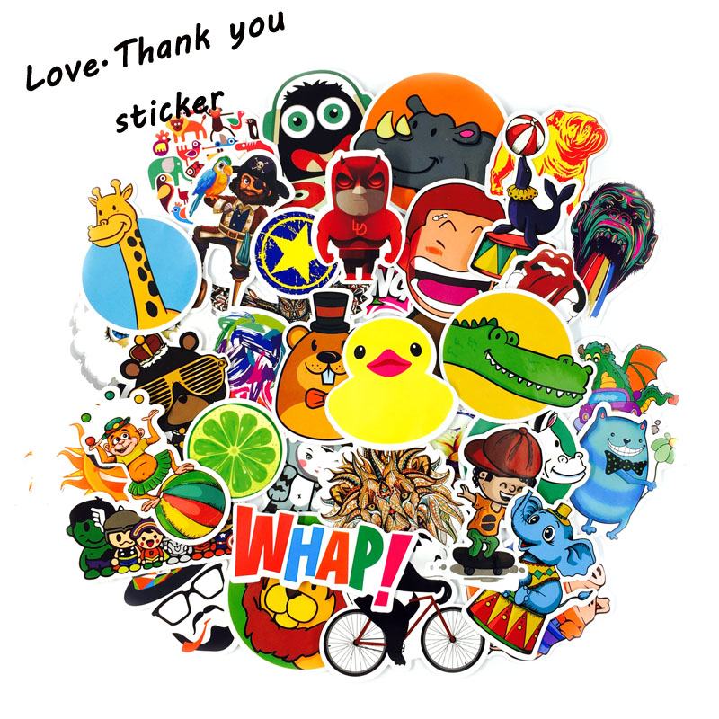 2017 NEW 200 Pcs Mix Style Funny Cartoon Stickers FOR Decal Fridge Doodle Snowboard Luggage Decor