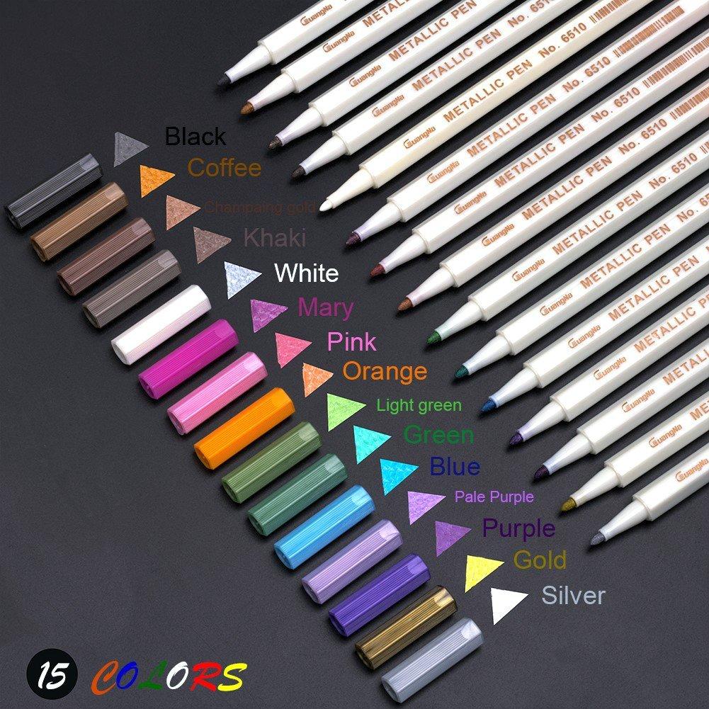Metallic Permanent Art Markers, Fine Point Tip Paint Marker Glitter Pens, Set For  Rock Art Painting, Black Paper,15-Pack