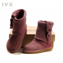 2017 Women's winter boots Australia Classic Tall Woolen ugs Snow Boots Warm Thicker Turn to help Wool boots Brand IVG size 5-10
