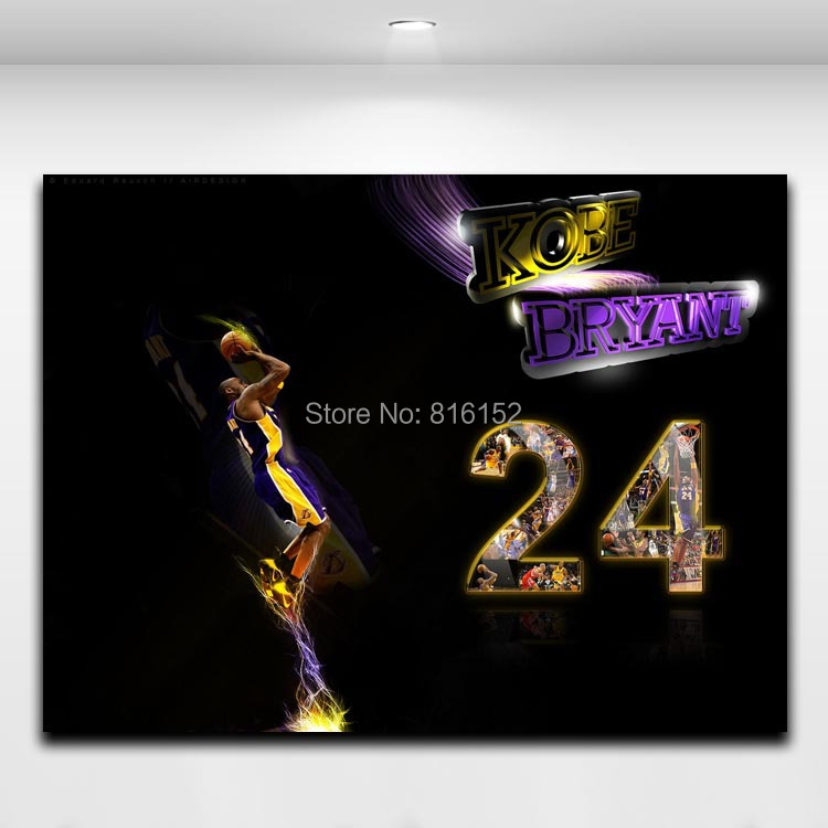 AsenArt Kobe Bryant Forever NO. 24 Basketball Player Super Star Poster Painting Printed on Canvas Boy's Room Wall Decor Picture