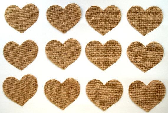 100 large big burlap heart shapes diy supplies for rustic wedding 4