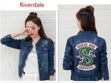 Riverdale Jeans Denim Jacket South Side Serpents Streetwear Tops Spring Jean Women Harajuku Hip Hop Clothing Female