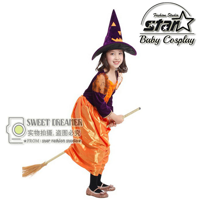 Halloween Cosplay Costumes for Girls Pumpkin Witches Dress Kids Masquerade Fancy Dress Children Carnival Clothes with Hat