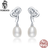 VOROCO 100 925 Sterling Silver Double White Natural Freshwater Pearls Dangles Drop Earrings For Women Wedding