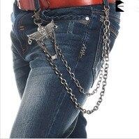 Zalzyywb Light Gunmetal Skull Wings Biker Trucker Key PunkJean Wallet Chain 2 Strands Punk Skeleton Men
