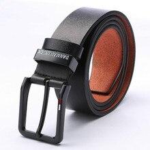 Business Casual Cowhide Men Needle Buckle Genuine Leather Belts Brand Strap Male Pin Buckle Vintage Jeans Belt 100-130 Cm