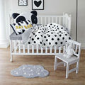 brief black dots white linens bedding set cotton for babies/toddlers/kids 3/4pcs duvet cover+bedsheet+pillowcase cushion