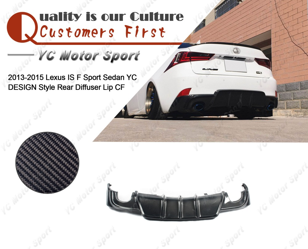 Car Accessories Carbon Fiber YC DESIGN Style Rear Diffuser Fit For 2013-2015 Lexus IS F Sport Sedan Rear Bumper Lower Lip